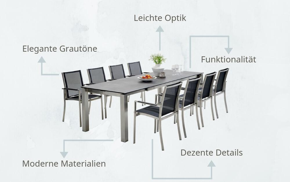 Moderne Gartenmöbel in minimalistischen Designs